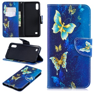 Pattern Printing PU Leather Wallet Cover Shell for Samsung Galaxy A10 - Blue Butterflies