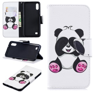 Pattern Printing PU Leather Wallet Cover Shell for Samsung Galaxy A10 - Adorable Panda