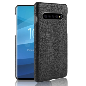 Custodia Rigida In PC Rivestita In Pelle Effetto Coccodrillo Per Samsung Galaxy S10 5G - Nero