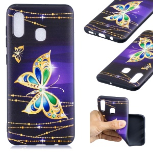 Embossment Pattern TPU Protection Mobile Phone Case for Samsung Galaxy A30 - Shiny Butterfly