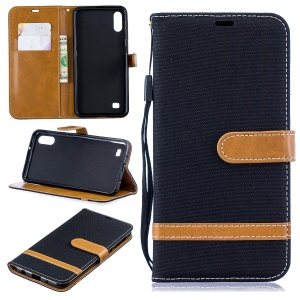 Assorted Color Jeans Cloth Wallet Stand Leather Case for Samsung Galaxy A10 - Black