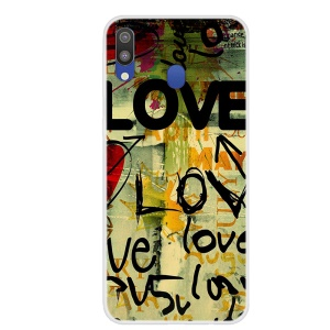 Pattern Printing TPU Case for Samsung Galaxy M20 - LOVE Pattern