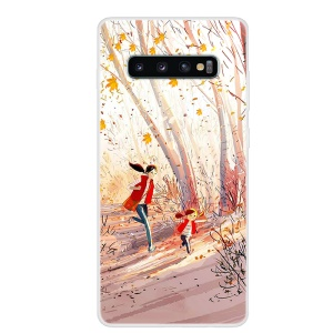 Pattern Printing TPU Shell for Samsung Galaxy S10 Plus - Happy Running