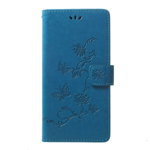Imprint Butterfly Flowers Leather Wallet Stand Case for Samsung Galaxy A70 - Blue