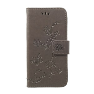 Imprint Butterfly Flower Stand Wallet Leather Shell Case for Samsung Galaxy A40 - Grey
