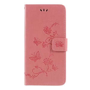 Imprint Butterfly Flower PU Leather Phone Casing with Lanyard for Samsung Galaxy A20/A30 - Pink