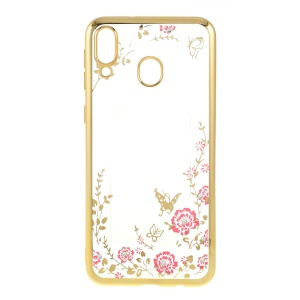 Electroplated TPU Rhinestone Phone Case Shell for Samsung Galaxy M20 - Gold