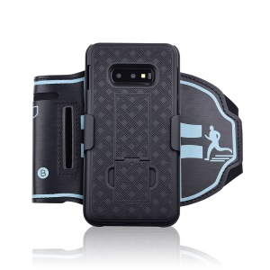 Woven Pattern Cell Phone Armband Case with Adjustable Elastic Belt for Samsung Galaxy S10e