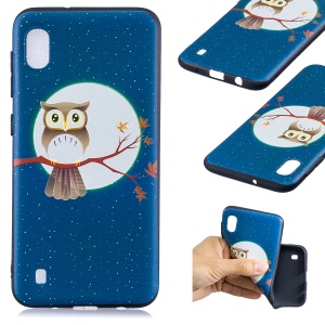 Pattern Printing Embossed TPU Case for Samsung Galaxy A10 - Owl on the Branch