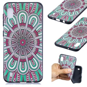 Pattern Printing Embossed TPU Case for Samsung Galaxy A10 - Symmetric Pattern