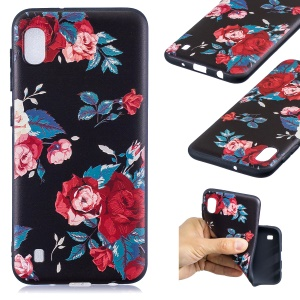 Pattern Printing Embossed TPU Case for Samsung Galaxy A10 - Vivid Flowers