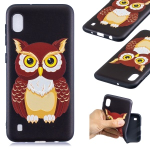 Pattern Printing Embossed TPU Case for Samsung Galaxy A10 - Brown Owl