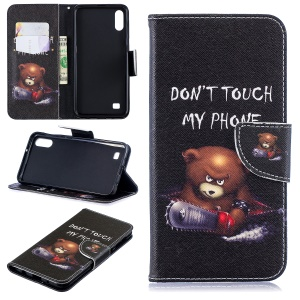 Pattern Printing Leather Wallet Case for Samsung Galaxy A10 - Brown Bear and Warning Words