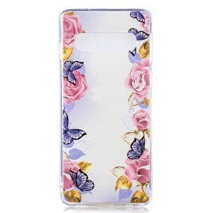 Pattern Printing TPU Protection Phone Case for Samsung Galaxy S10 - Flower and Butterfly