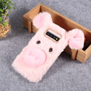 Animal Pig Plush Soft Cartoon TPU Phone Cover Case for Samsung Galaxy S10 Plus - Pink