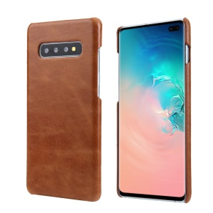 For Samsung Galaxy S10 Plus Retro Matte Genuine Leather Coated PC Hard Case - Brown