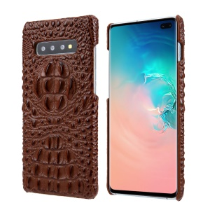 Alligator Head Texture Cowhide Leather Coated PC Phone Shell for Samsung Galaxy S10 Plus - Brown