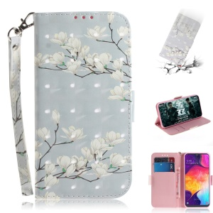 Pattern Printing Light Spot Decor Leather Wallet Case for Samsung Galaxy A50 / A50s / A30s - White Flowers