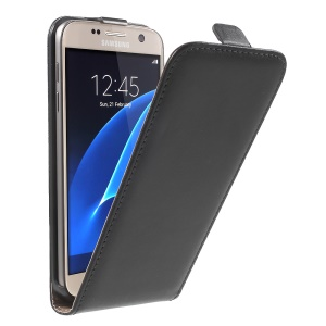 Vertical Flip Genuine Split Leather Cover para Samsung Galaxy S7 G930 - Preto