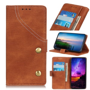 Jeans Cloth Wallet Stand Leather Phone Cover for Samsung Galaxy S10 - Brown
