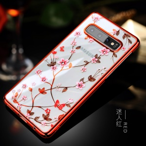 SULADA Electroplating Rhinestone Decoration Patterned PC Phone Case for Samsung Galaxy S10 Plus - Red