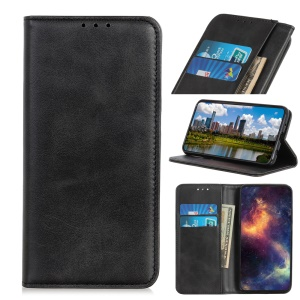 Auto-absorbed Split Leather Wallet Case for Samsung Galaxy S10 - Black