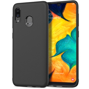 LENUO Twill Texture TPU Cell Phone Cover for Samsung Galaxy A30/A20 - Black