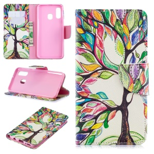 Pattern Printing Leather Wallet Case for Samsung Galaxy A40 - Colorized Tree