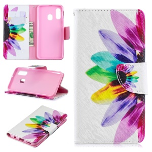 Pattern Printing Leather Wallet Case for Samsung Galaxy A40 - Colorful Petals