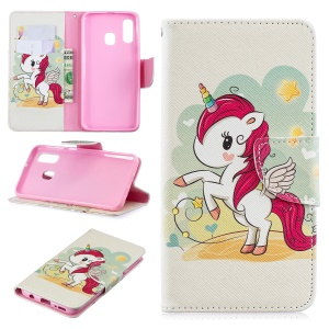 For Samsung Galaxy A40 Pattern Printing PU Leather Phone Cover with Wallet - Unicorn