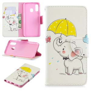 For Samsung Galaxy A40 Pattern Printing PU Leather Phone Cover with Wallet - Elephant Holding an Umbrella