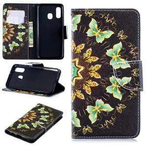 For Samsung Galaxy A40 Pattern Printing PU Leather Phone Cover with Wallet - Colorized Butterflies