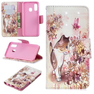 Pattern Printing Light Spot Decor Leather Wallet Case for Samsung Galaxy A40 - Cat and Flowers