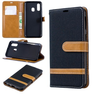 Assorted Color Jeans Cloth Wallet Leather Case Cover for Samsung Galaxy A40 - Black