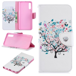 Pattern Printing PU Leather Wallet Stand Flip Cover for Samsung Galaxy A70 - Flowered Tree