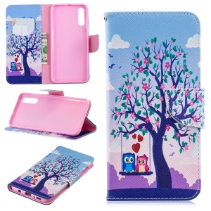 For Samsung Galaxy A70 Pattern Printing Leather Stand Wallet Case - Tree and Owls