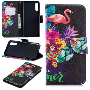 For Samsung Galaxy A70 Pattern Printing PU Leather Stand Phone Cover - Flamingo and Pineapple