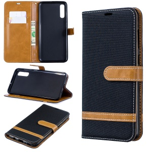 Two-tone Jean Cloth PU Leather Flip Case for Samsung Galaxy A70 - Black