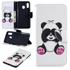 For Samsung Galaxy A20 / A30 Pattern Printing Leather Stand Wallet Case - Cute Panda
