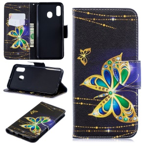 For Samsung Galaxy A20 / A30 Pattern Printing Leather Stand Wallet Case - Colorized Butterfly