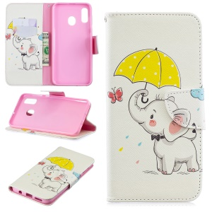Pattern Printing Leather Wallet Case for Samsung Galaxy A20/A30 - Elephant Holding an Umbrella