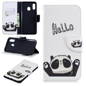 Pattern Printing Leather Wallet Case for Samsung Galaxy A20/A30 - Cute Panda