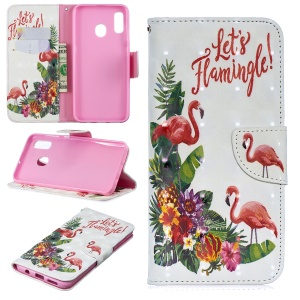 For Samsung Galaxy A30 / A20 Pattern Printing PU Leather Wallet Cell Phone Cover - Flamingo