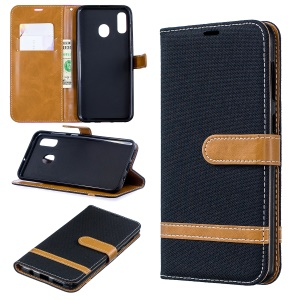 Two-tone Jean Cloth PU Leather Flip Case for Samsung Galaxy A20 / A30 -  Black
