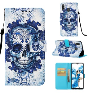 Pattern Printing Leather Wallet Case for Samsung Galaxy M20 - Flowered Skull