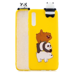 [3D Animal Doll] Pattern Printing TPU Back Case for Samsung Galaxy A50 - Panda and Bear
