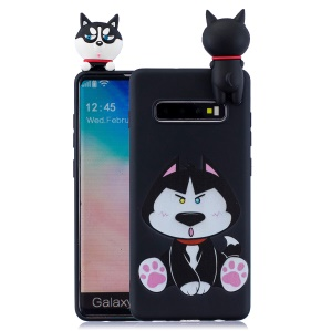 For Samsung Galaxy S10 Pattern Printing TPU Cell Phone Case with 3D Animal Doll - Dog