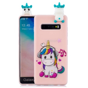 For Samsung Galaxy S10 Pattern Printing TPU Cell Phone Case with 3D Animal Doll - Unicorn Enjoying Music
