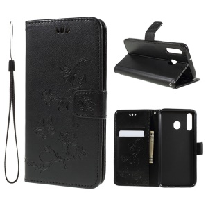 Imprint Butterfly Flower Stand Wallet Leather Mobile Casing for Samsung Galaxy M30 / A40s - Black