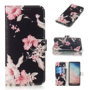 Pattern Printing Wallet Stand PU Leather Case for Samsung Galaxy S10 - Pretty Flower
